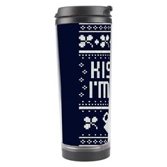 Kiss Me I m Irish Ugly Christmas Blue Background Travel Tumbler by Onesevenart