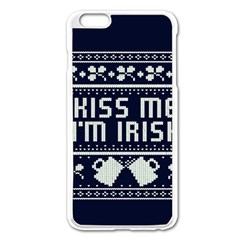 Kiss Me I m Irish Ugly Christmas Blue Background Apple Iphone 6 Plus/6s Plus Enamel White Case by Onesevenart
