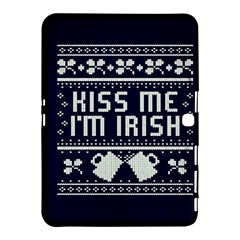 Kiss Me I m Irish Ugly Christmas Blue Background Samsung Galaxy Tab 4 (10 1 ) Hardshell Case  by Onesevenart