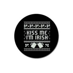 Kiss Me I m Irish Ugly Christmas Black Background Magnet 3  (round) by Onesevenart