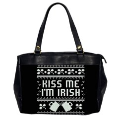 Kiss Me I m Irish Ugly Christmas Black Background Office Handbags (2 Sides)  by Onesevenart