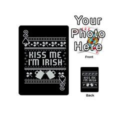 Kiss Me I m Irish Ugly Christmas Black Background Playing Cards 54 (mini)  by Onesevenart