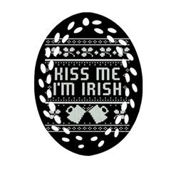 Kiss Me I m Irish Ugly Christmas Black Background Ornament (oval Filigree) by Onesevenart