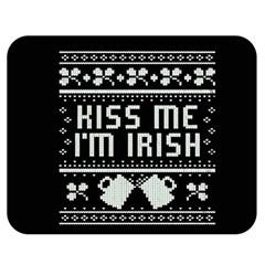 Kiss Me I m Irish Ugly Christmas Black Background Double Sided Flano Blanket (medium)  by Onesevenart