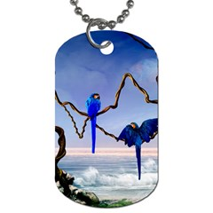 Wonderful Blue  Parrot Looking To The Ocean Dog Tag (two Sides) by FantasyWorld7