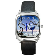 Wonderful Blue  Parrot Looking To The Ocean Square Metal Watch by FantasyWorld7
