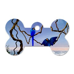 Wonderful Blue  Parrot Looking To The Ocean Dog Tag Bone (two Sides) by FantasyWorld7