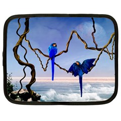 Wonderful Blue  Parrot Looking To The Ocean Netbook Case (large) by FantasyWorld7