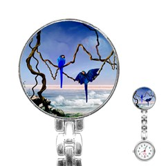 Wonderful Blue  Parrot Looking To The Ocean Stainless Steel Nurses Watch by FantasyWorld7