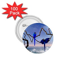 Wonderful Blue  Parrot Looking To The Ocean 1 75  Buttons (100 Pack)