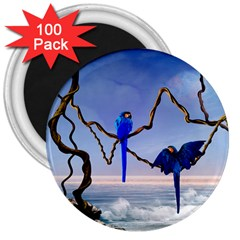 Wonderful Blue  Parrot Looking To The Ocean 3  Magnets (100 Pack) by FantasyWorld7