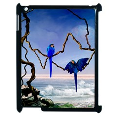 Wonderful Blue  Parrot Looking To The Ocean Apple Ipad 2 Case (black) by FantasyWorld7
