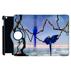 Wonderful Blue  Parrot Looking To The Ocean Apple Ipad 2 Flip 360 Case by FantasyWorld7
