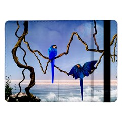 Wonderful Blue  Parrot Looking To The Ocean Samsung Galaxy Tab Pro 12 2  Flip Case by FantasyWorld7
