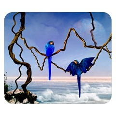 Wonderful Blue  Parrot Looking To The Ocean Double Sided Flano Blanket (small)  by FantasyWorld7
