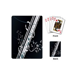 Line Light Leaf Flower Floral Black White Beauty Polka Playing Cards (mini)  by Mariart