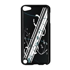 Line Light Leaf Flower Floral Black White Beauty Polka Apple Ipod Touch 5 Case (black) by Mariart