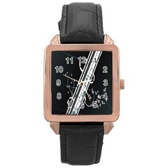 Line Light Leaf Flower Floral Black White Beauty Polka Rose Gold Leather Watch  by Mariart