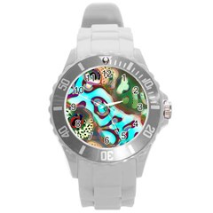 Multiscale Turing Pattern Recursive Coupled Stone Rainbow Round Plastic Sport Watch (l) by Mariart