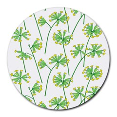 Marimekko Fabric Flower Floral Leaf Round Mousepads by Mariart