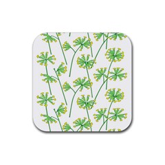 Marimekko Fabric Flower Floral Leaf Rubber Coaster (square)  by Mariart