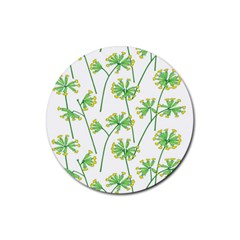 Marimekko Fabric Flower Floral Leaf Rubber Round Coaster (4 Pack)  by Mariart