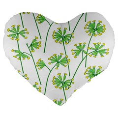 Marimekko Fabric Flower Floral Leaf Large 19  Premium Flano Heart Shape Cushions by Mariart