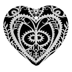 Paper Cut Butterflies Black White Heart Ornament (two Sides) by Mariart