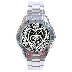 Paper Cut Butterflies Black White Stainless Steel Analogue Watch by Mariart