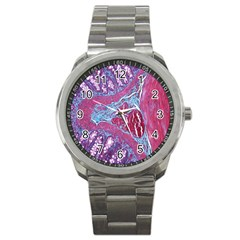 Natural Stone Red Blue Space Explore Medical Illustration Alternative Sport Metal Watch by Mariart