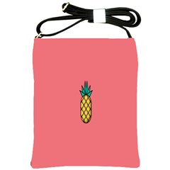 Pineapple Fruite Minimal Wallpaper Shoulder Sling Bags by Mariart