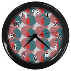 Pink Red Grey Three Art Wall Clocks (black) by Mariart