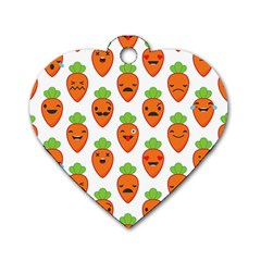 Seamless Background Carrots Emotions Illustration Face Smile Cry Cute Orange Dog Tag Heart (one Side) by Mariart