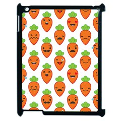 Seamless Background Carrots Emotions Illustration Face Smile Cry Cute Orange Apple Ipad 2 Case (black) by Mariart
