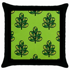 Seamless Background Green Leaves Black Outline Throw Pillow Case (black) by Mariart