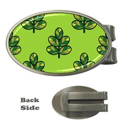 Seamless Background Green Leaves Black Outline Money Clips (oval)  by Mariart