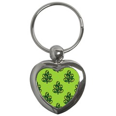 Seamless Background Green Leaves Black Outline Key Chains (heart)  by Mariart
