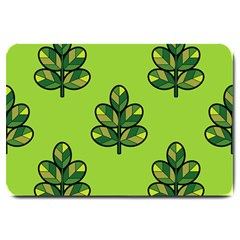 Seamless Background Green Leaves Black Outline Large Doormat  by Mariart