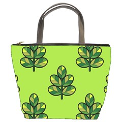 Seamless Background Green Leaves Black Outline Bucket Bags by Mariart