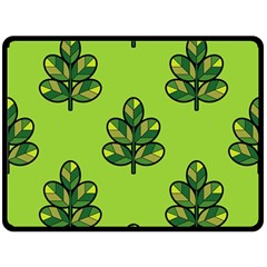 Seamless Background Green Leaves Black Outline Fleece Blanket (large)  by Mariart