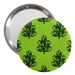 Seamless Background Green Leaves Black Outline 3  Handbag Mirrors by Mariart