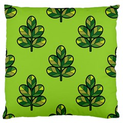 Seamless Background Green Leaves Black Outline Large Flano Cushion Case (two Sides) by Mariart