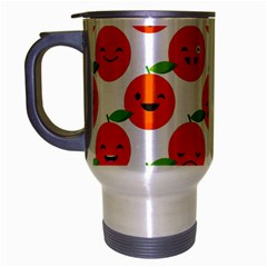 Seamless Background Orange Emotions Illustration Face Smile  Mask Fruits Travel Mug (silver Gray) by Mariart
