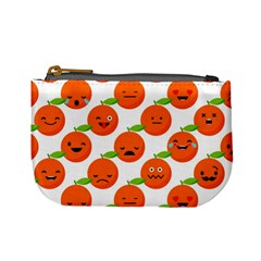 Seamless Background Orange Emotions Illustration Face Smile  Mask Fruits Mini Coin Purses by Mariart
