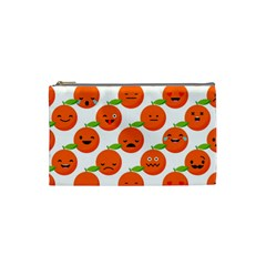 Seamless Background Orange Emotions Illustration Face Smile  Mask Fruits Cosmetic Bag (small)  by Mariart