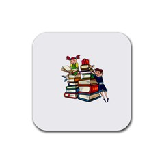 Back To School Rubber Coaster (square)  by Valentinaart