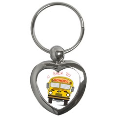 Back To School   School Bus Key Chains (heart)  by Valentinaart