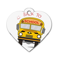 Back To School   School Bus Dog Tag Heart (one Side) by Valentinaart