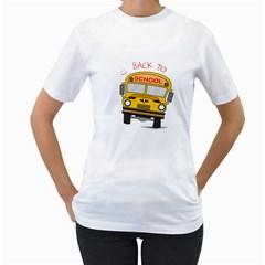 Back To School   School Bus Women s T Shirt (white)  by Valentinaart