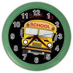 Back To School   School Bus Color Wall Clocks by Valentinaart